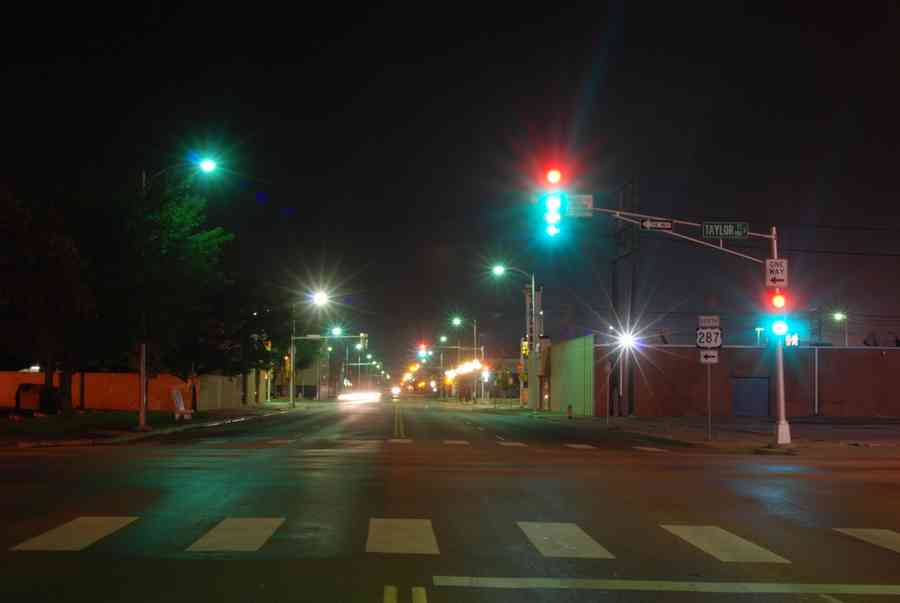 Stop Lights In Downtown Amarillo At Night Brian Humek