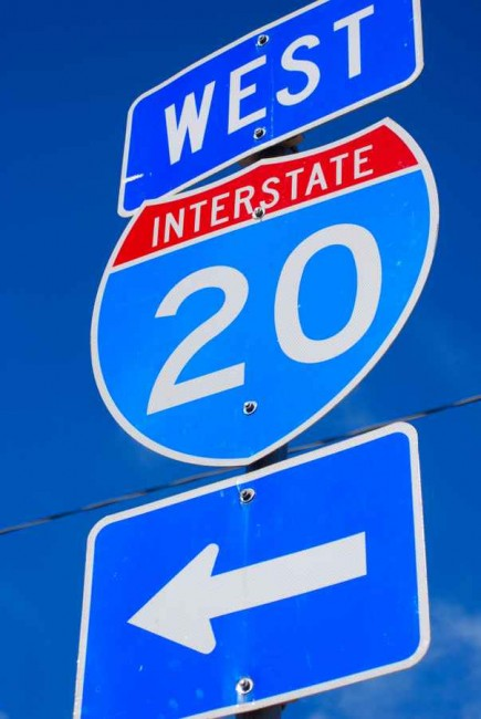 Blue Interstate 20 Road Sign in Texas