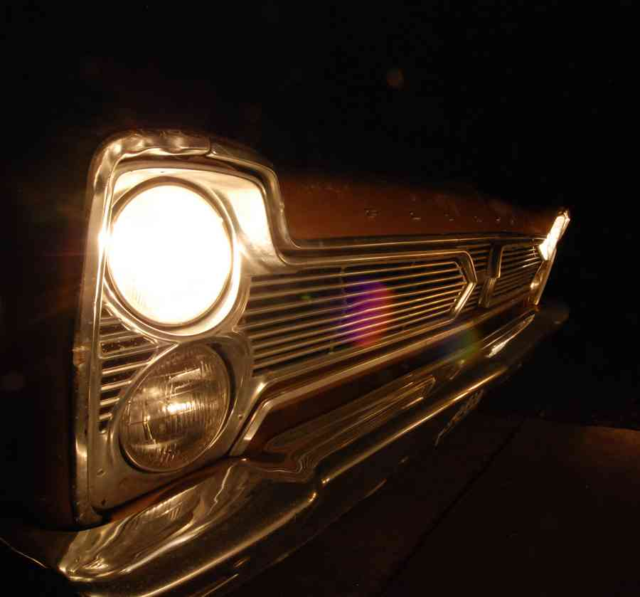 Old Plymouth Headlight : Headlight of old plymouth car at night brian humek